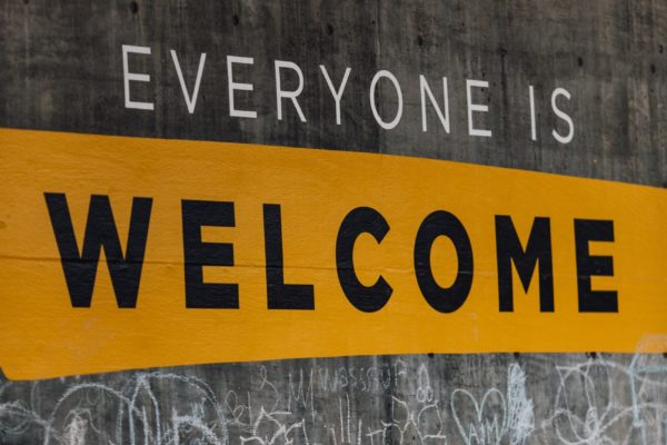 Message on grafitti wall: Everyone is Welcome